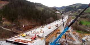 ETS concluye el viaducto de Lamiategi de la Y vasca a su paso por Bergara